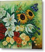 Summer Bouquet - Right Part Of Diptych. Metal Print