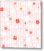Summer Garden Floral Pattern Metal Print