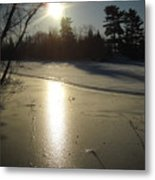 Sun Reflecting Off River Ice Metal Print