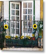 Sunflower Balcony Metal Print