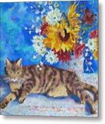 Sunflower Cat Metal Print