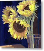 Sunflowers And Light Metal Print