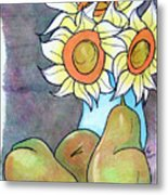 Sunflowers And Pears Metal Print