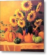 Sunflowers And Squash Metal Print