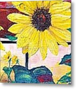 Sunflowers And Train Metal Print