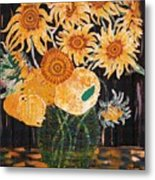 Sunflowers In Clear Vase Metal Print
