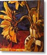 Sunflowers In Italian Vase Take Two Metal Print