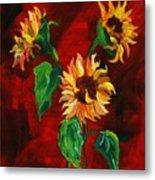 Sunflowers On Rojo Metal Print