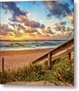 Sunlight On The Sand Metal Print by Debra and Dave Vanderlaan