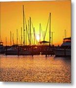 Sunrise Over Long Beach Harbor - Mississippi - Boats Metal Print