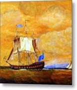 Sunset And Ships Metal Print