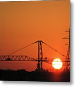 Sunset And Tower Crane Metal Print