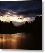 Sunset At Yangshuo In China Metal Print