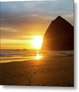 Sunset By Haystack Rock At Cannon Beach Metal Print