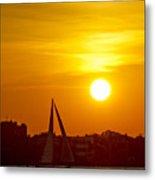 Sunset In Charleston South Carolina Sailboat Metal Print