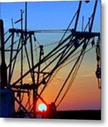 Sunset On Trawler Metal Print