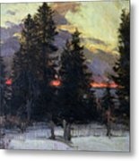 Sunset Over A Winter Landscape Metal Print by Abram Efimovich Arkhipov