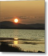 Sunset Over Mountains And Water Metal Print