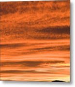 Sunset Over Suburb Of Ljubljana Taken From A Sixth Floor Apartme Metal Print