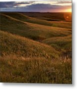 Sunset Over The Kansas Prairie Metal Print by Jim Richardson
