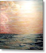 Sunset Right In The Middle Of An Ocean Metal Print