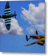 Supermarine Spitfire Mk1 And Avro Lancaster - Oil Metal Print