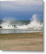 Surf Hitting Rocks 2 Metal Print