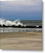 Surf Hitting Rocks 3 Metal Print