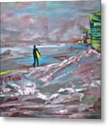 Surfer On A Foggy Day Metal Print