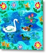 Swan And Two Ducks Metal Print by Sushila Burgess