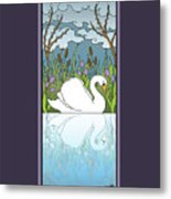 Swan On The River Metal Print