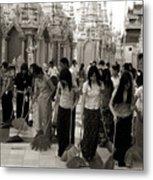 Sweeping The Shwedagon Floor Metal Print