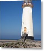 Talacre Lighthouse And Beach. Metal Print