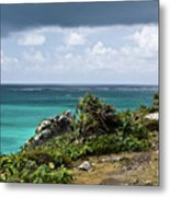 Talum Ruins Mexico Ocean View Metal Print