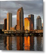 Tampa In Reflection Metal Print