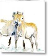 Tan Horses Metal Print