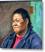 Taos Pueblo Woman Metal Print