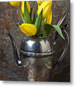 Tea Pot And Tulips Metal Print