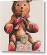 Teddy With Blocks Metal Print