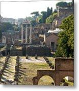 Temple Of Vesta. Arch Of Titus. Temple Of Castor And Pollux. Forum Romanum. Roman Forum. Rome Metal Print by Bernard Jaubert