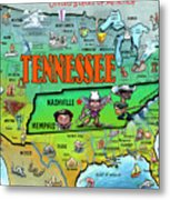 Tennessee Usa Cartoon Map Metal Print