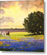 Texas Horses And Bluebonnets Metal Print by Connie Tom