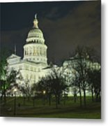 Texas State Capitol Building In Austin At Night Metal Print