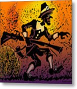 Thanksgiving Pilgrim Metal Print