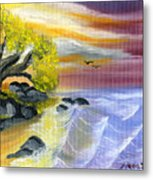 That Yellow Tree By The Sea Metal Print