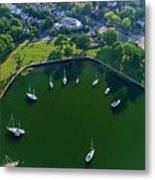 The Aerial View Of The Marina Of Mamaroneck Metal Print