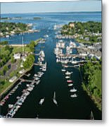 The Aerial View To The Mamaroneck Marina, Westchester County Metal Print