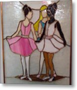 The Ballet Dancers In Stained Glass Metal Print