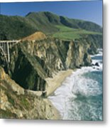The Beach And Shoreline Along Highway 1 Metal Print