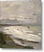 The Beach At Sainte Adresse Metal Print by Claude Monet